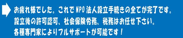 NPO法人設立手続きの完了